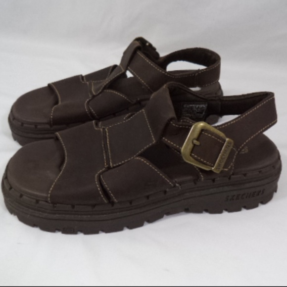 Skechers Womens Brown Leather Fishing Sandals Sz 7